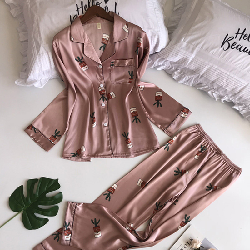2019 Spring Printing Pattern Women   Pajama     Set   Rayon Sleepwear Long Sleeve Trousers Two Paper Suit Woman   pajamas