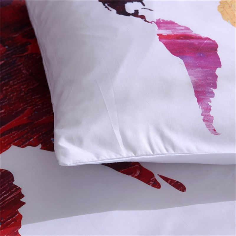 Карта мира Комплект постельного белья с принтом, белый пододеяльник, королева, король, двойной размер, высокое качество, Комплект постельного белья для взрослых