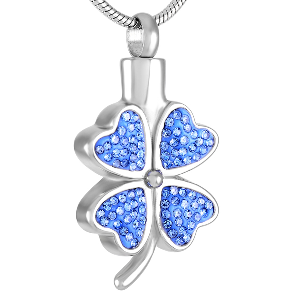 Crystal Inlay Four Leaf Clover Cremation Urns Memorial Ashes Keepsake Stainless Steel Urns Funeral Jewelry