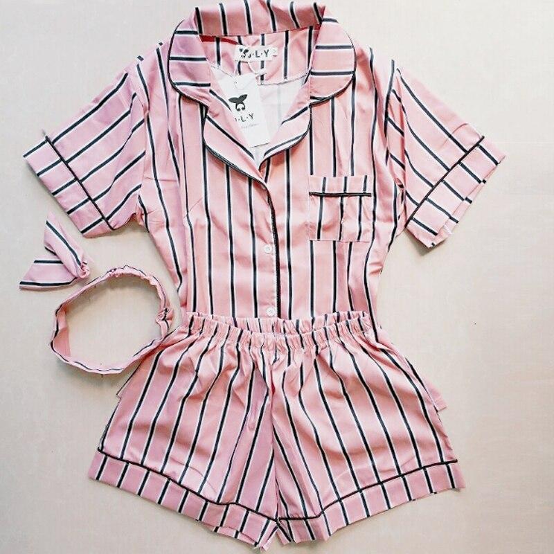 Plus Size Sleepwear Summer Women Pajama 2019 Turn-down Collar Home Clothes 2 Piece Set Shirt+Shorts Striped Casual Pajama Sets