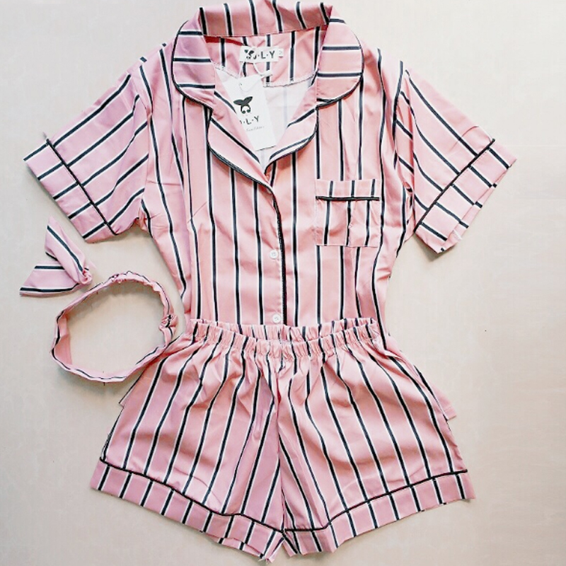 Plus Size Sleepwear Summer Women   Pajama   2019 Turn-down Collar Home Clothes 2 Piece   Set   Shirt+Shorts Striped Casual   Pajama     Sets