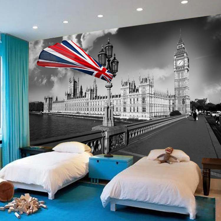 ... Vintage Photo Wallpaper British Flag Big Ben Wallpaper Custom 3D Wall  Mural Boys Bedroom Kids Room ... Part 62