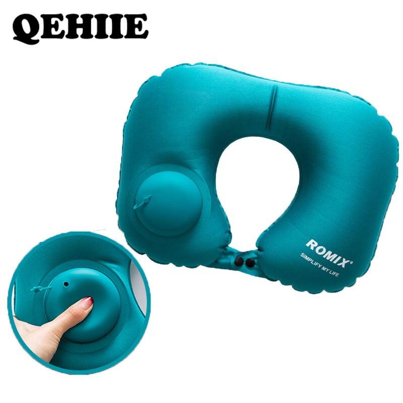 Travesseiro inflável 4 pc/s conjunto de viagem travesseiro cervical u-tipo automático travesseiro inflável dobrável portátil acessórios de viagem