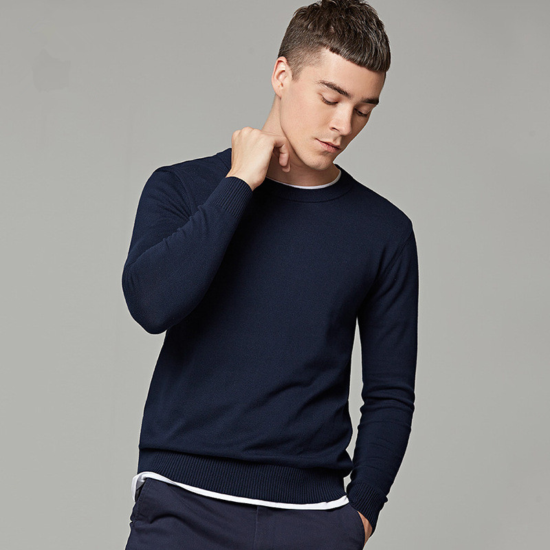 MRMT 2019 Brand Autumn Men's Sweater Pure Color Round Neck Long Sleeved Pullover For Male Knitted Thin Sweater
