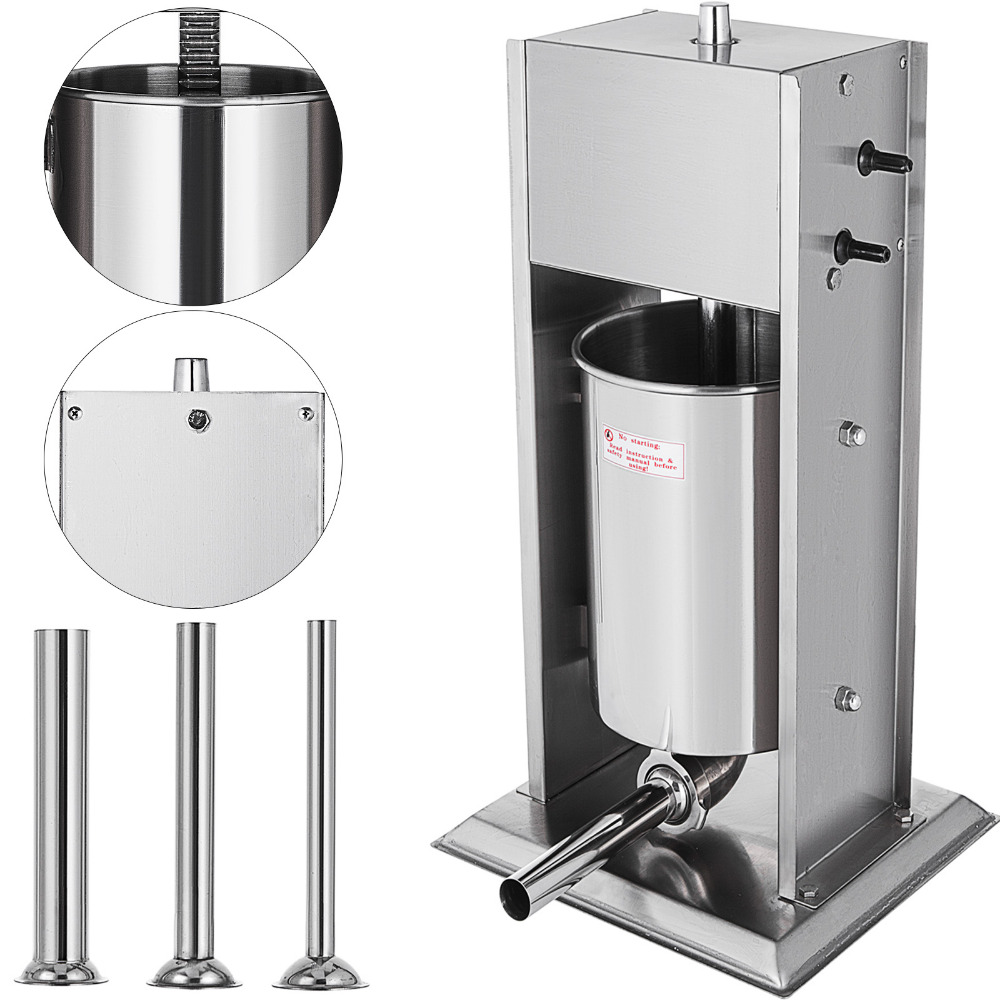 NEW 7L Sausage Filler Stuffer Maker Meat Machine Filler W/ 4 Tubes Vertical 304 Stainless Steel