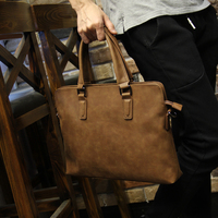 Brand Crazy horse pu leather men bags vintage business leather briefcase men's Briefcase men travel bags tote laptop bag man bag
