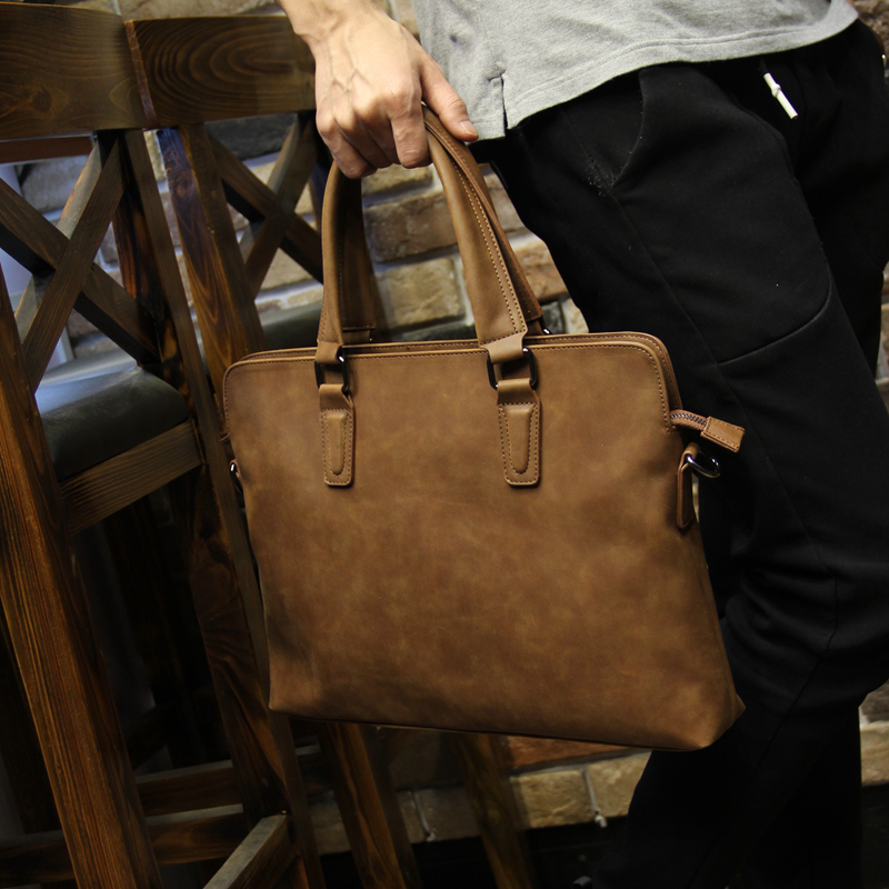 Brand Crazy horse pu leather men bags vintage business leather briefcase men's Briefcase men travel bags tote laptop bag man bag crazy horse genuine leather men bags vintage loptop business men s leather briefcase man bags men s messenger bag 2016 new 7205