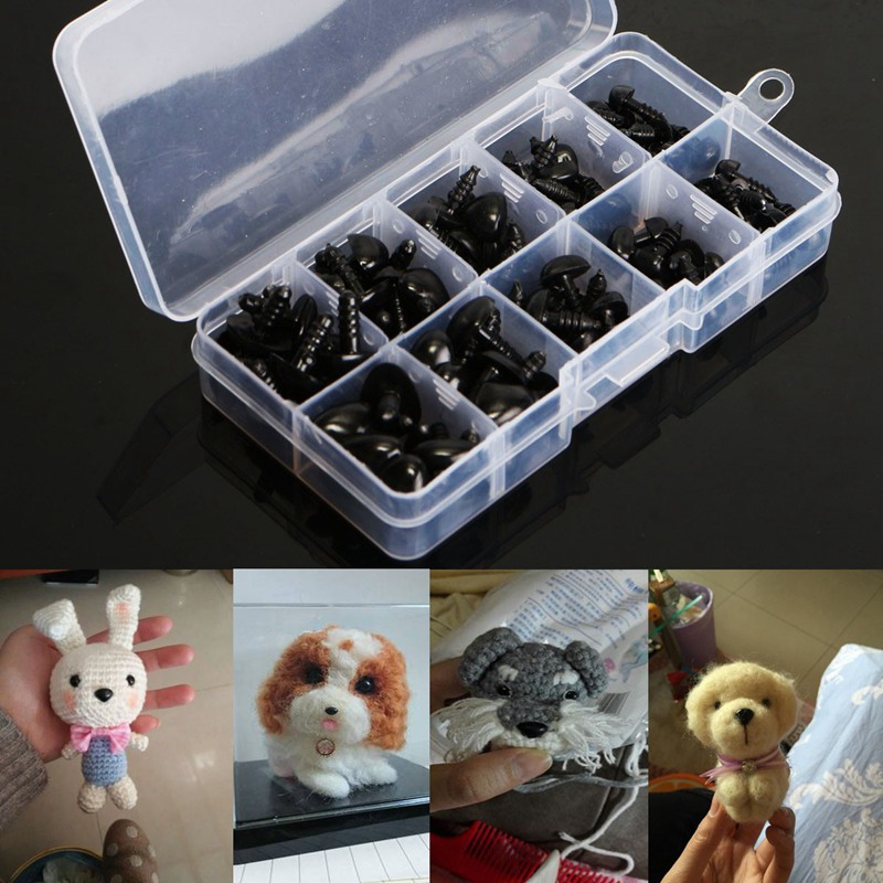 100pcs/box 8/9/11/13.5/15mm Mini Black Plastic Safety Nose Triangle For Doll Teddy Stuff ...