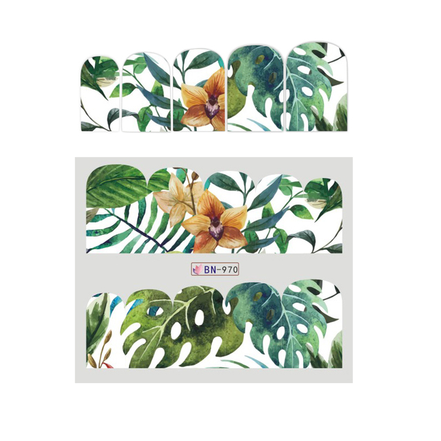 12 Designs Nail Sticker Set Jungle Green Leaves Flower Leaf Slider DIY Nail Art Water Transfer Decal Manicure Tool CHBN961-972