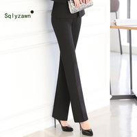 Large Size Work Wear Pants Trousers Female Professional Middle Waist Straight Overalls Formal Wear Pants Women's Trousers S 5XL