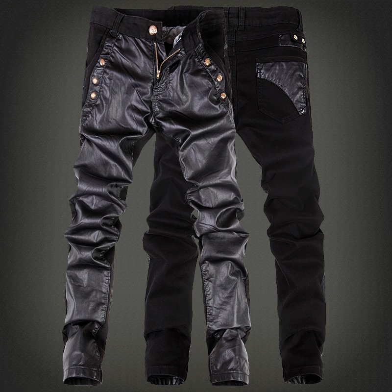 Fashion cool rock leather pants men with jean Black color Patchwork Plus size 30 31 32 33 34 36 Skinny tight Punk trousers