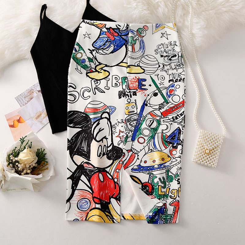 Vintage Women 39 s Pencil Skirt 2019 New Cartoon Mouse Print High Waist Slim Skirts Young Girl Summer Large Size Japan Female Falda in Skirts from Women 39 s Clothing