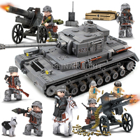 1193PCS Military World War 2 Germany 923 PZKPFW IV Tank Model Soldiers Building Blocks Sets Compatible Legoed Army ww2 Vehicles