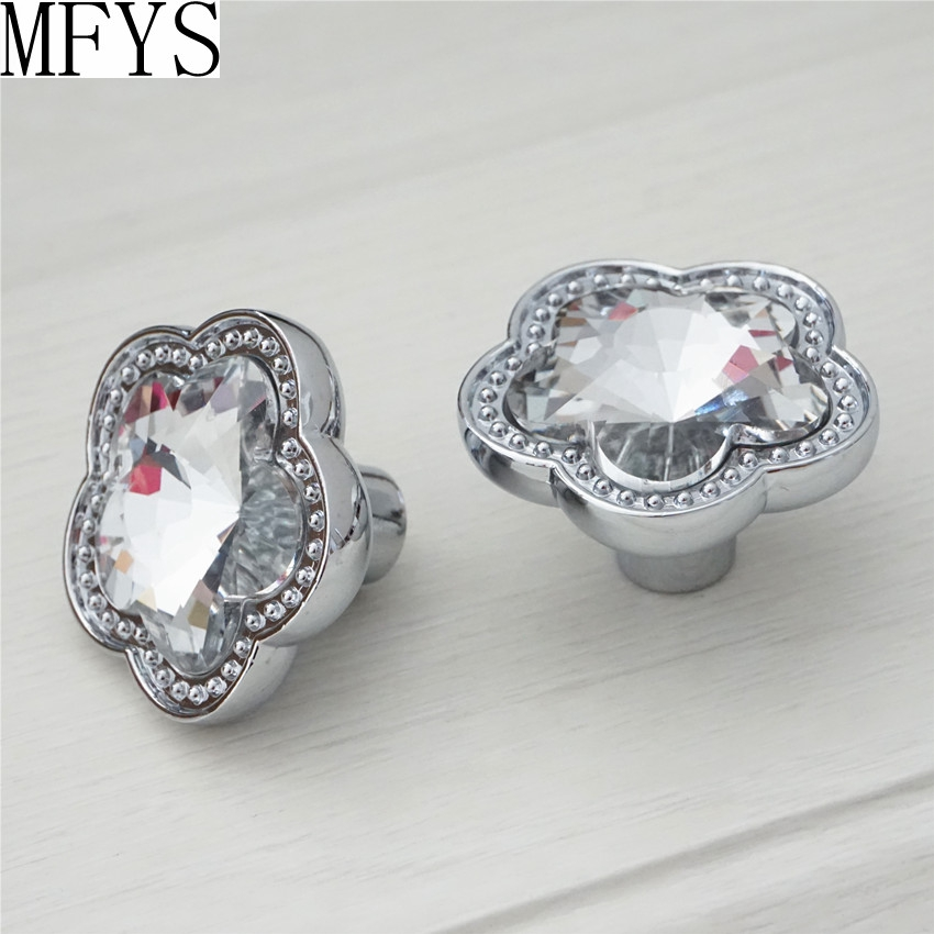 Rhinestone Glass Knobs Crystal Dresser Pulls Drawer Knobs Pulls Handles Flower Cabinet Door Knobs Handle Silver Clear Furniture in Cabinet Pulls from Home Improvement