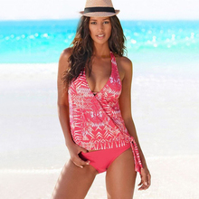 Plus Size Swimwear Women Swimsuit Bikini 2019 Two Piece Vintage Bathing Suit Floral Print Retro Beach Wear Sexy Brazilian Bikini charming plus size spaghetti strap floral print bikini suit for women