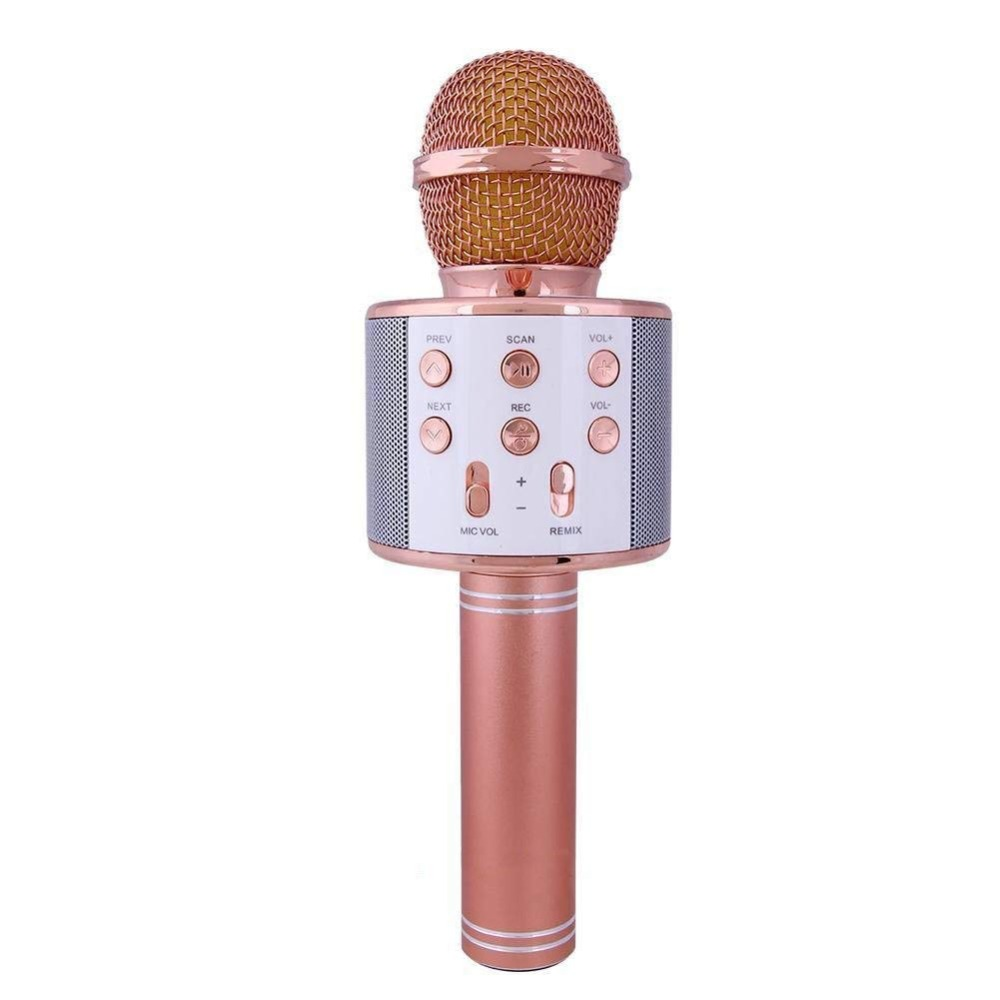 Sago WS858 Wireless Karaoke Microphone 4-in-1 Portable Bluetooth Speaker Player Selfie Function for Apple iPhone Android Phones portable wireless bluetooth speaker system talking caller id speakerphone sd card slot charzon mmbox for iphone android smart phones ipad tablets macbook notebooks not for windows 8 built in voice guidance for easy installation no risk t