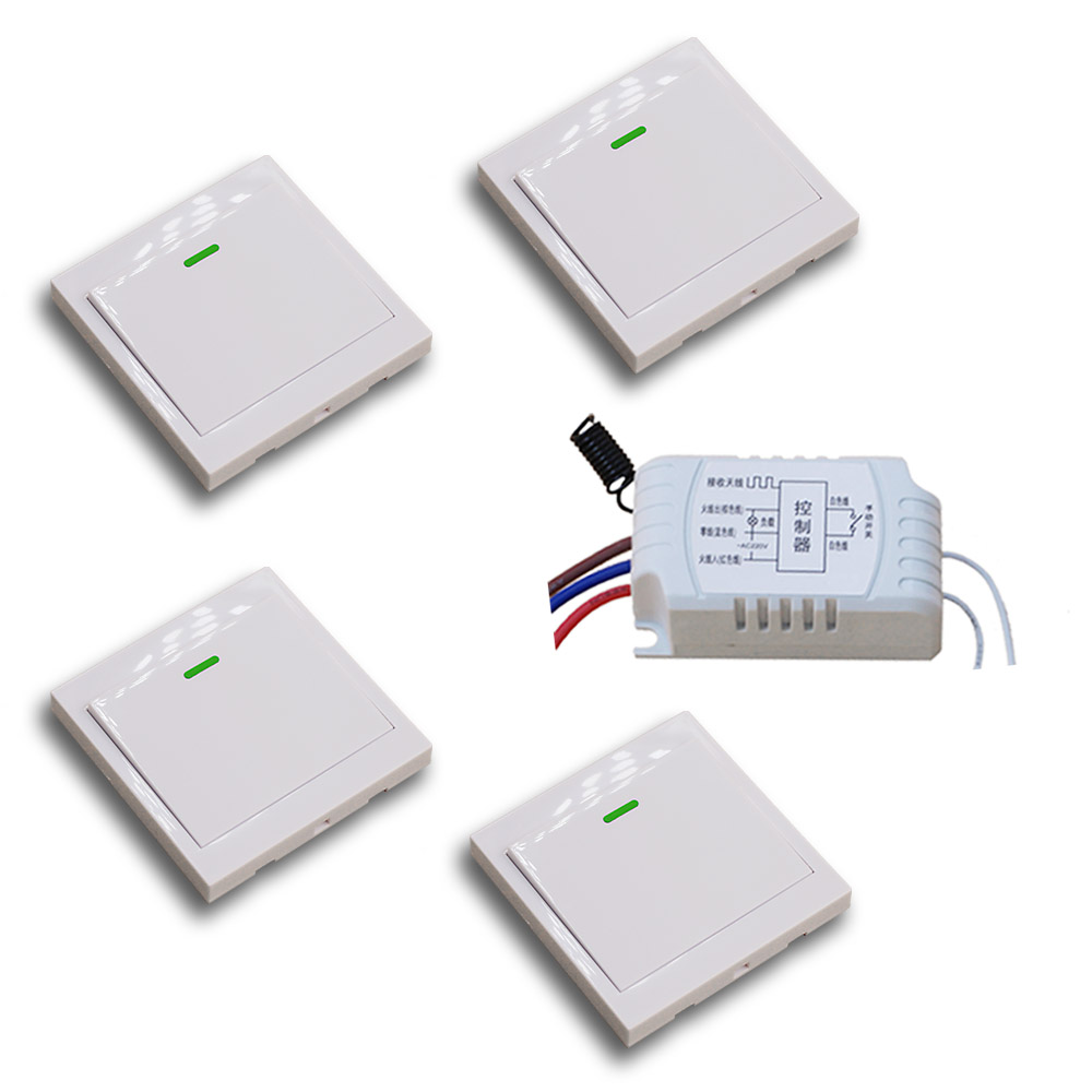 Best Price Smart Home Wall Wireless Panel Transmitter Receiver 220V Remote Control Switch Input Output Power 315MHZ 433MHZ good price wireless 1 channels 220v lamp remote control switch receiver transmitter used in household stairs corridor promotion