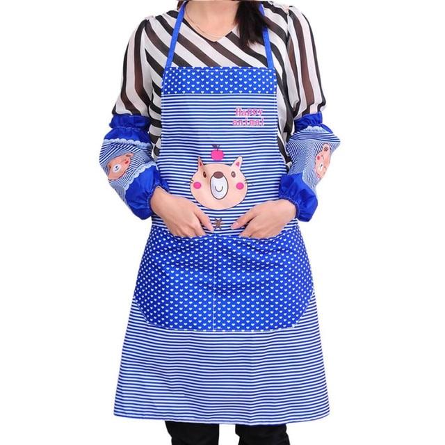 Womens Waist Bib Cooking Aprons Lovely Cartoon Stripe Dot Sleeveless Big  Pockets Butcher Craft Baking Chefs