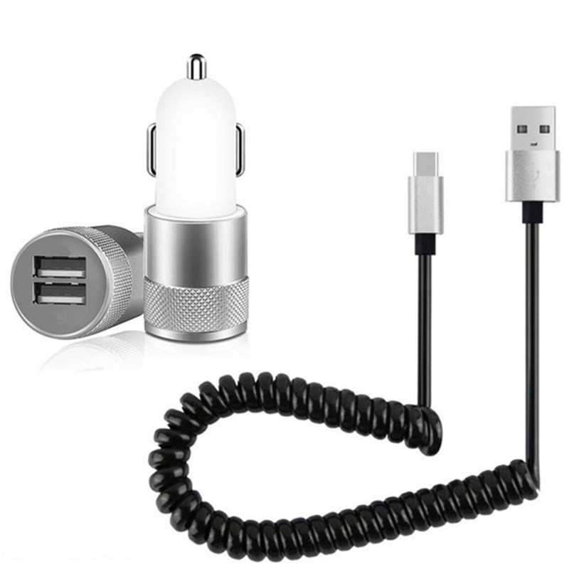 Universal Dual USB <font><b>Car</b></font> <font><b>Charger</b></font> For iPhone Micro USB <font><b>Type</b></font> <font><b>C</b></font> <font><b>Car</b></font> <font><b>Charger</b></font> Spring Cable For <font><b>Samsung</b></font> Galaxy A10 A20 A30 A40 A50 A70 image