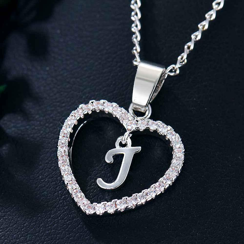 IF ME Trendy Initial Letter J Heart Crystal for Women