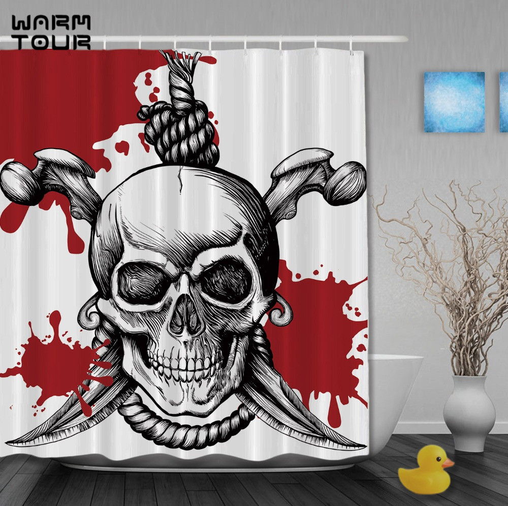 Pirate bathroom decor - Warm Tour Halooween Pirates Curtains Skulls With Saber Shower Curtain Home Decor Waterproof Polyester Fabric Bathroom Curtain