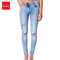 Lato Rozciąganie Dziura Dżinsy Kobiet Z Kolana Ripped Torn Jeans Elastyczne Obcisłe Dżinsy Dla Dziewczyn Ołówek Spodnie