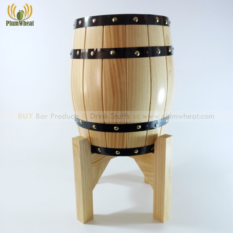 Wood Ice Bucket Cooling Barrel with Stainless Steel Liner Wood Stand