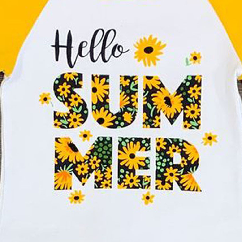Pudcoco Baby Little Girls Short Sleeve Sunflower Hello Summer T-Shirt and Tassel Shorts Outfit 2T, Yellow