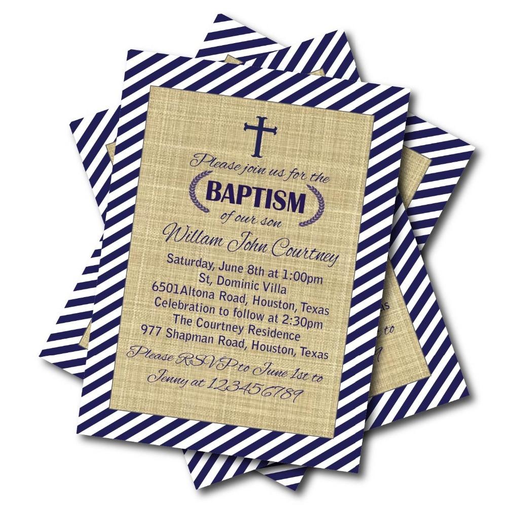 Us 5 39 40 Off 14 Pcs Lot Nave Blue Baptism Invitation Baby Blue Chevron Baptism Invites Boy Christening First Holy Communion Invitation Card In