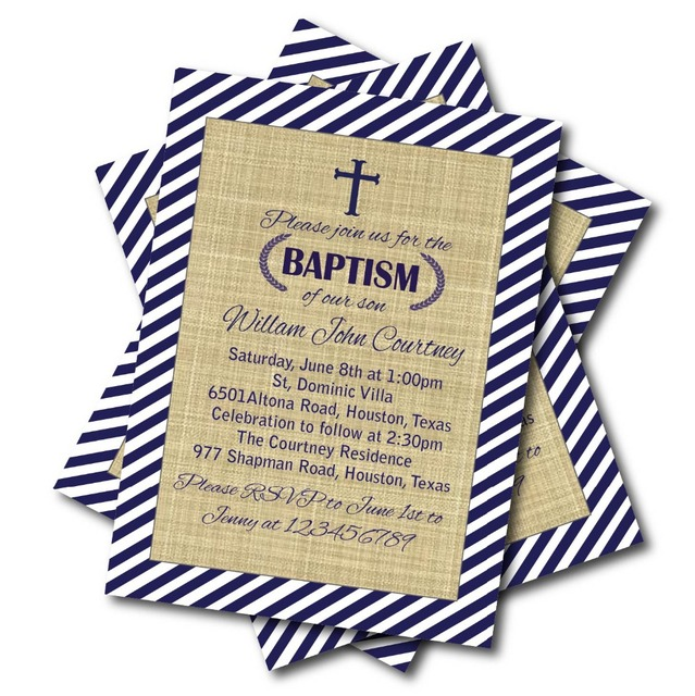 20 pcslot Nave Blue Baptism Invitation Baby Blue Chevron Baptism