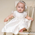 2016 nuevo verano blanco / marfil infant baby girl boy bautizo vestidos simple del satén bautismo vestidos con flores capó por encargo