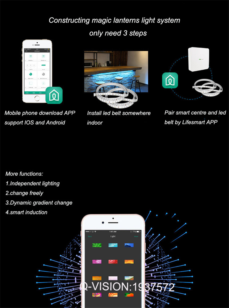 10-Lifesmart New LED Light Strip Wireless Remote Control by Phone16 Million Colors RGB Dimmable Smart Home Automation Customerized