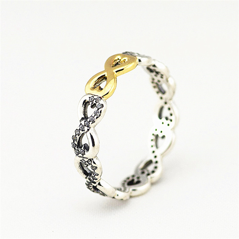 silver bracelets with 14k real gold 100% 925 authentic sterling silver fashion jewelry free shipping Authentic 100% 925 Sterling Silver Infinity Ring with 14K Real Gold and CZ Trendy Rings Jewelry Gifts for Women FLR048K