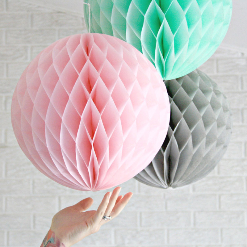 20cm Honeycomba Balls Pink Grey Mint Tissue Paper Follow Hanging Fluffy Balls Wedding Party Decor Festival Birthday Shower 3 in Party DIY Decorations from Home Garden