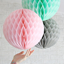 3pcs 20cm Pink&Grey&Mint Large Tissue Paper Honeycomb Balls Hanging Fluffy Wedding Party Decor Festival Birthday Shower