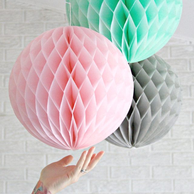 Buy 3pcs 20cm pink grey mint large tissue paper honeycomb balls hanging fluffy - Hanging paper balls decorations ...