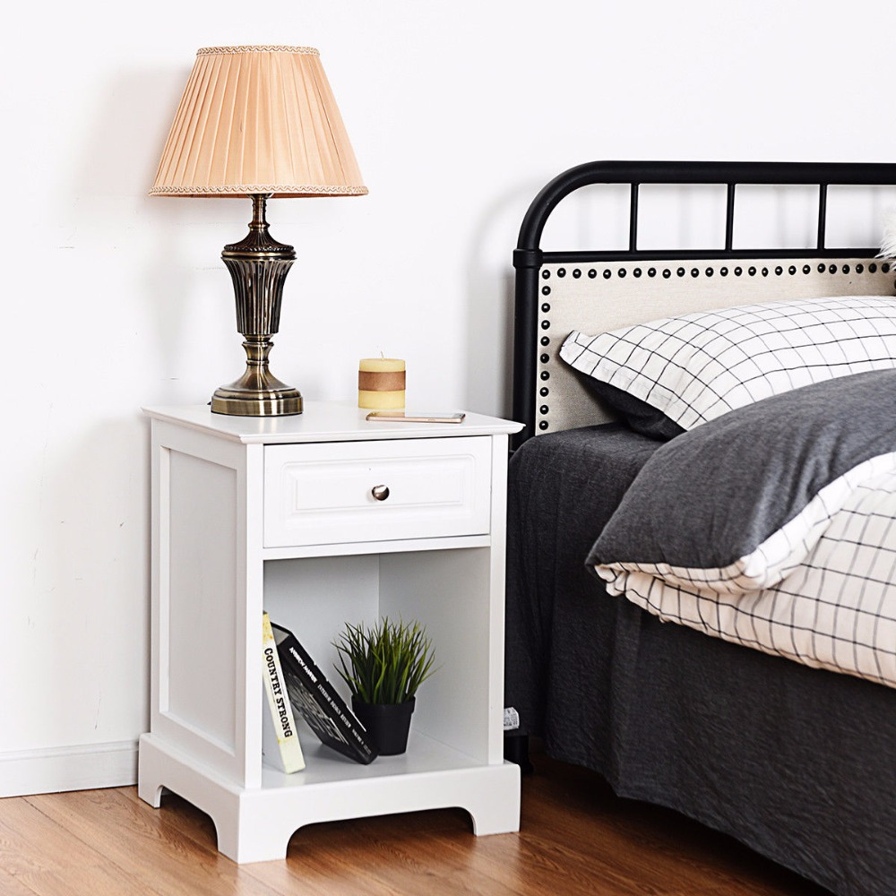 Night Stand End Accent Table Drawer Chest Sofa Side Bedside Storage Home White