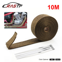 10M Car Motorcycle Exhaust Wrap Pipe Header Heat Wrap Turbo Mainfold Heat Exhaust Thermal Wrap Tape Stainless Steel Tie CR1007 sclmotos 5 10 15m titanium color exhaust pipe header heat wrap resistant exhaust stainless steel ties wrap for car motorcycle