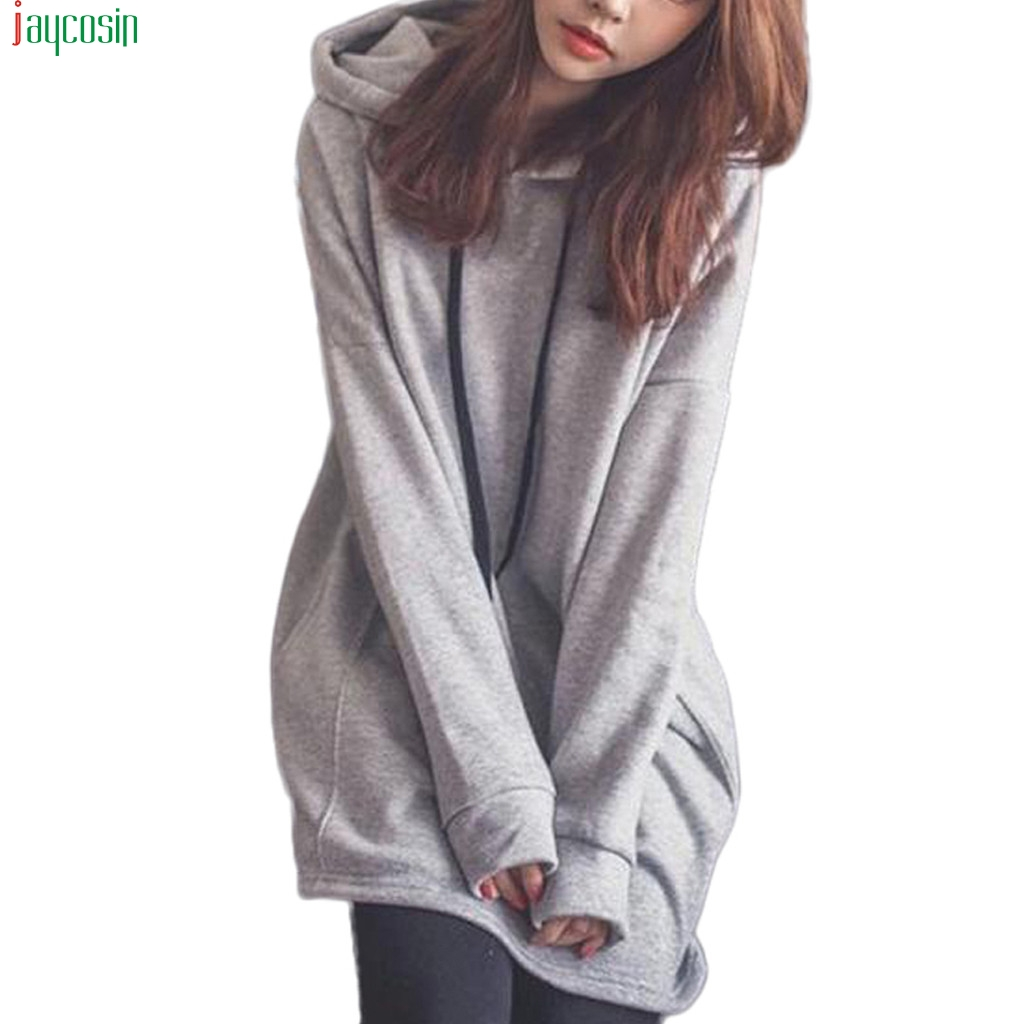 JAYCOSIN Women Hoodies 2020 Long Sleeve Oversize Solid Casual Shirt Loose Top Pullover hoodies women long Streetwear Sweatshirts
