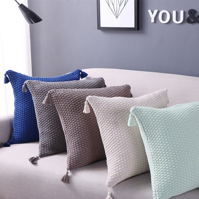 Top Cushion Cover Retro Style Knitted Wool Pillow Case Solid Sofa Waits Bedroom  Decorative Pillows Square