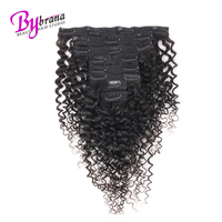 Afro Kinky Curly Clip in Human Hair Extensions 8Pcs/Set 120G Full Head 100% Brazilian Real Human Remy Hair Lace Clip Bybrana
