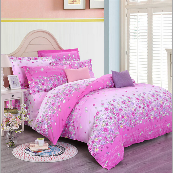 Flowers soft fabric soft modern bedding sheet 4pcs/set 100%cotton Queen size comfortable printing christmas beding sets