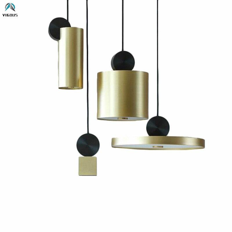Nordic Brass Metal Gold Lustre Led Pendant Lights Bar Counter Luminaria Hanging Lamp Led Suspend Lamp Fixtures Lighting Lamparas