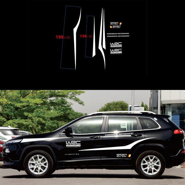 WRC العالم SUV الرياضة سباق السيارات ملصقات أسود أو أبيض اختياري مقاوم للماء الجانب شريط الشارات ملصقات