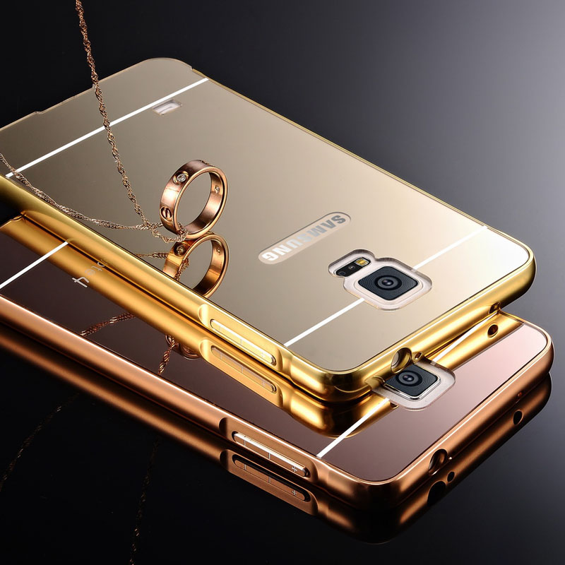 competitive price 623d6 75477 US $5.7 |Case For Samsung Galaxy Note 4 N9100 SM N910F Luxury Metal Mirror  View Series Aluminum Frame+PC Plastic Back Cover Coque Caso on ...