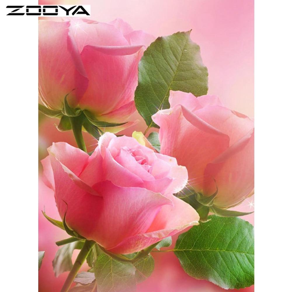 ZOOYA 3D Pink Rose Needlework DIY Cross Stitch Sets För Broderi Kits - Konst, hantverk och sömnad
