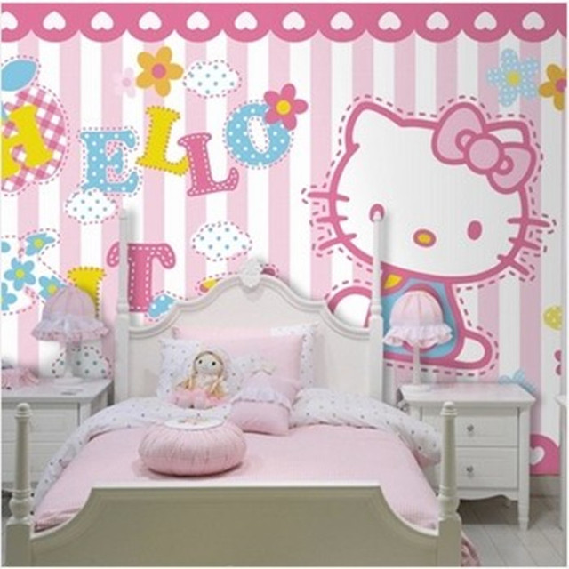 Mural Cartoon Child Real Background 3D Wallpaper Mural Hellokitty Girl Male Wall  Murals For Living Room Part 23
