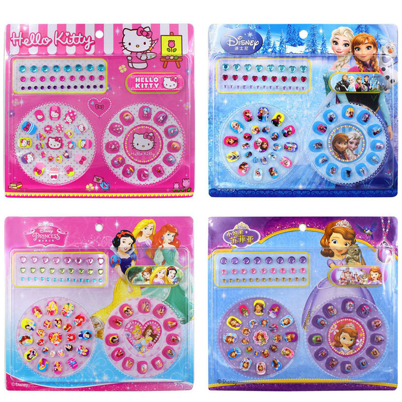 Disney Genuine Child Makeup Toy Nail Sticker Toy Diamond Mini Nail Sticker Frozen Sophia Manicure Paste