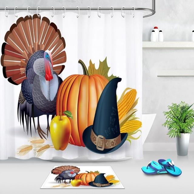LB Thanksgiving Turkey Pumpkin Hat White Shower Curtain With Mat Set Custom Luxury Waterproof Bathroom Fabric For Bathtub Decor