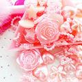200 pcs Assorted Pearlized Cabochão Apartamento de Volta 6mm a 18mm Pink Heart Star